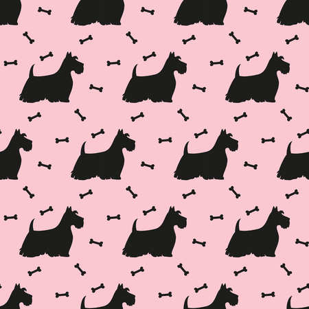 A seamless pattern with black silhouettes of terriers.