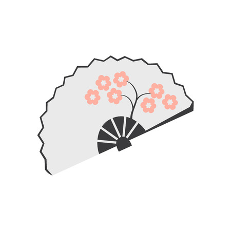 Traditional fan icon on the white background. Vector illustration. Illustration