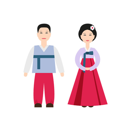 Korean National Costumes icon on the white background. Vector illustration.