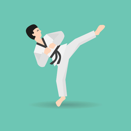 Karate icon on the green background. Vector illustration.