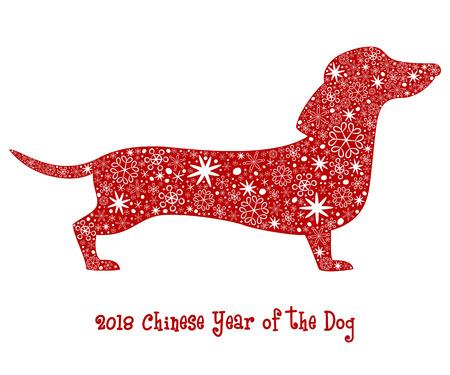 Perro silueta roja con copos de nieve. 2018 - Año chino del perro. Ilustración vectorial