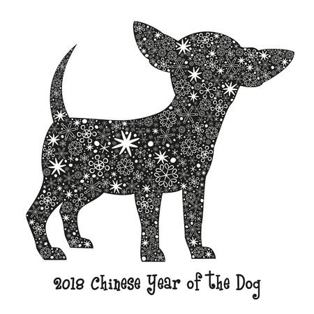 雪と黒犬のシルエット。2018 年 - 戌年中国。 ベクトルの図。  イラスト・ベクター素材