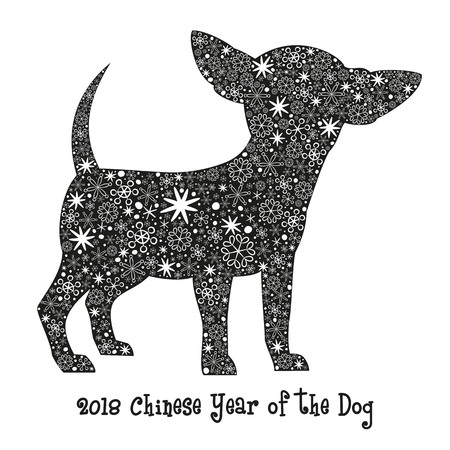 Dog black silhouette with snowflakes. 2018 - Chinese Year of the Dog.  Vector illustration. Vectores