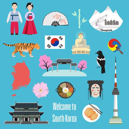 Set of Korean national symbols. Vector illustration.