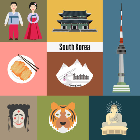 Set of Korean national symbols. Vector illustration.