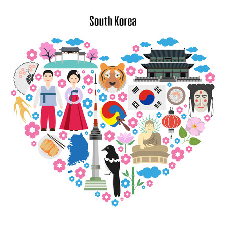 Colorful poster with symbols of South Korea. Heart shape with flat icons. Vector illustration.