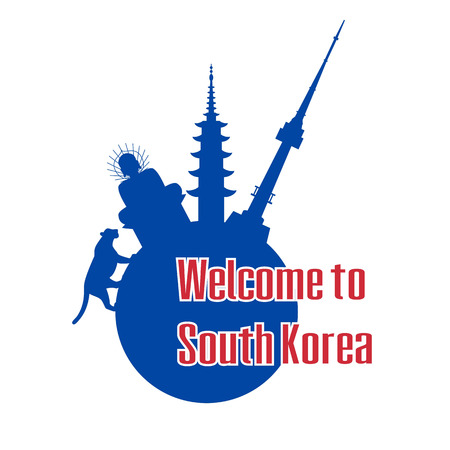Welcome to South Korea. Poster with symbols of South Korea. Vector illustration.