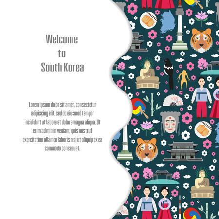 한국에 오신 것을 환영합니다. 다채로운 포스터입니다. 벡터 일러스트 레이 션.