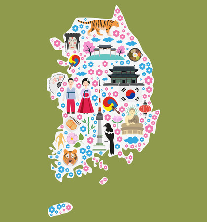 Welcome To South Korea Colorful Poster With Symbols Of South
