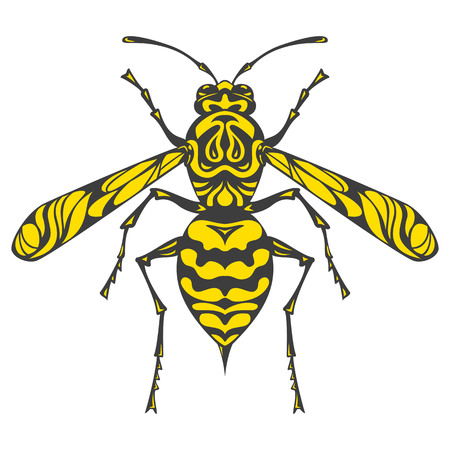 Icon of wasp doodle silhouette. Vector illustration. Çizim