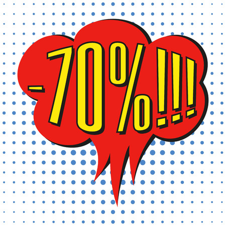 Speech sale bubble with  text -70%. Vector illustration.