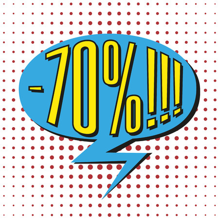 percentage: Speech sale bubble with  text -70%. Vector illustration.