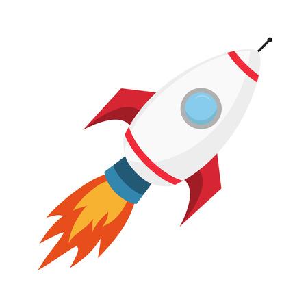 흰색 배경에 비행 로켓입니다. 비즈니스 개념 시작 또는 실행합니다. 벡터 일러스트 레이 션.