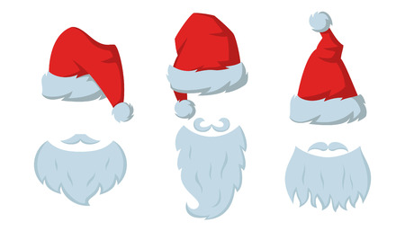 Set of Red hats and beards of Santa Claus on the white background. Vector illustration. Vettoriali