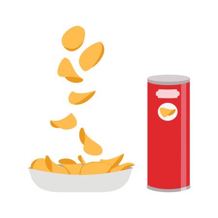 흰색 배경에 감자 칩입니다. 벡터 일러스트 레이 션.