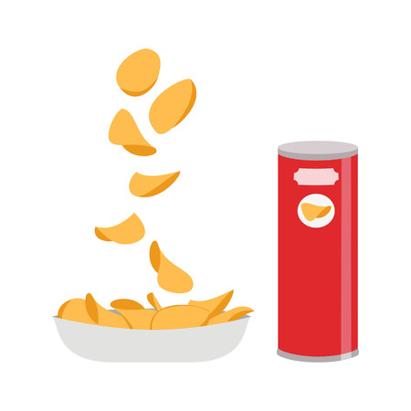 Potato chips on white background. Vector illustration. Illustration