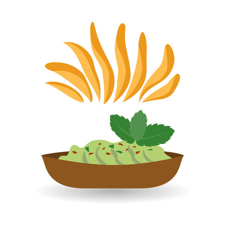 Nachos chips with guacamole on white background. Vector illustration.