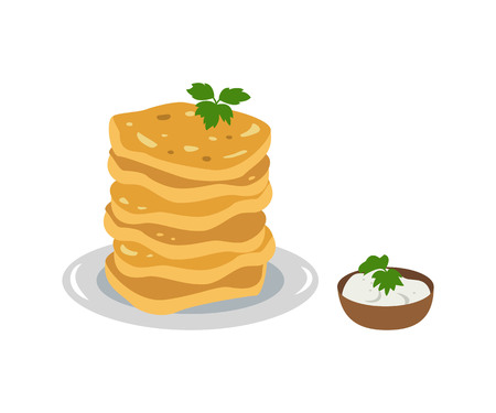 Potato pancakes with sour cream on white background. Vector illustration.