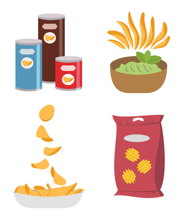 Icon set of potato chips on white background. Vector illustration.