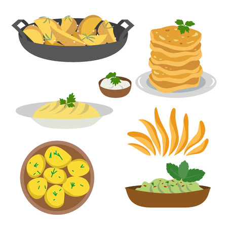 Icon set of dishes of potatoes on white background. Vector illustration.