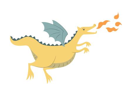Cartoon dragon on white background. Vector illustration. Illustration