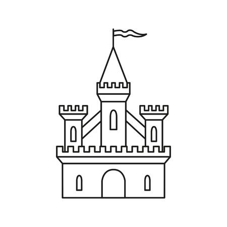 Medieval castle on white background. Vector illustration.