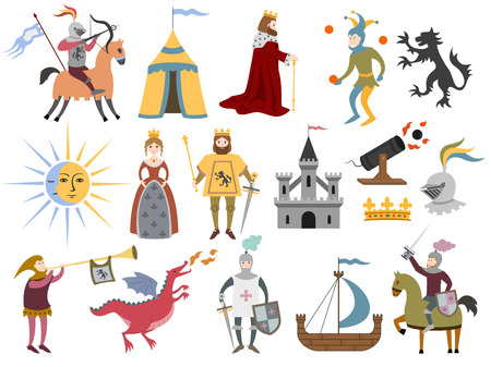 Big set of cartoon medieval characters and medieval attributes on white background. Vector illustration.
