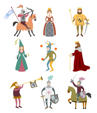 Zestaw średniowiecznych postaci z kreskówek na białym tle. Ilustracja wektorowa.