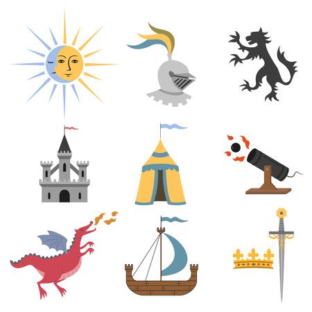 Set of cartoon medieval attributes on white background. Vector illustration. Illustration