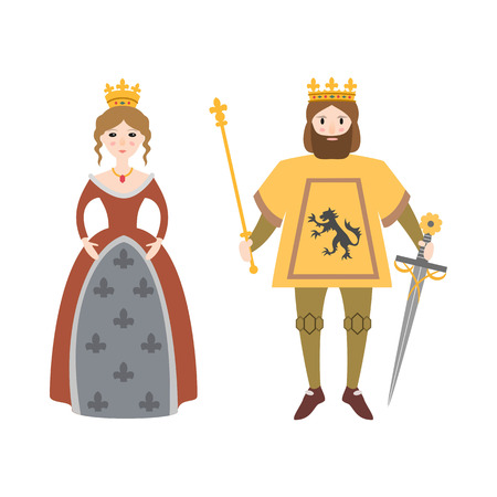 Cartoon king and queen on white background. Vector illustration.