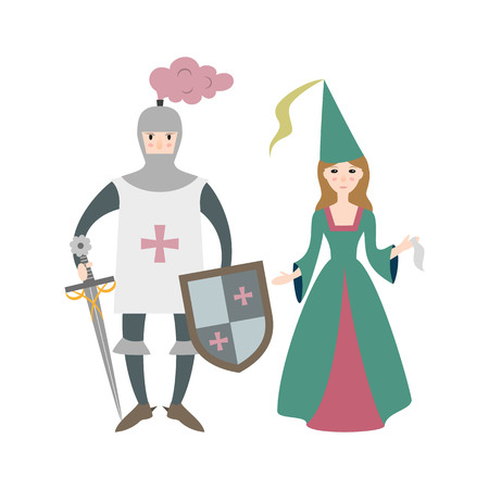 Cartoon knight with princess on white background. Vector illustration.