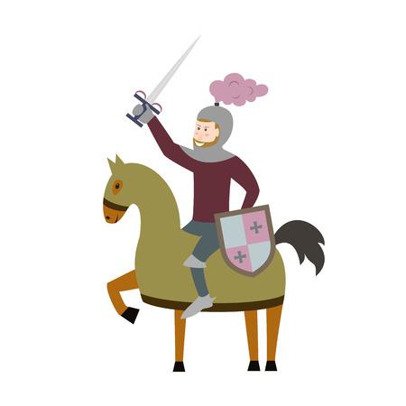 Cartoon knight on horseback on white background. Vector illustration. Illustration