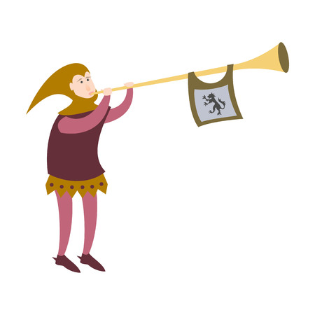 Cartoon crier with trumpet on white background. Vector illustration. Vectores