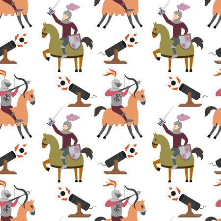 Cartoon pattern with medieval characters on white background. Vector illustration.