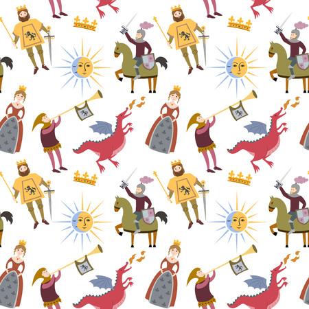 白い背景に中世の文字を持つ漫画のパターン。ベクトルイラスト。
