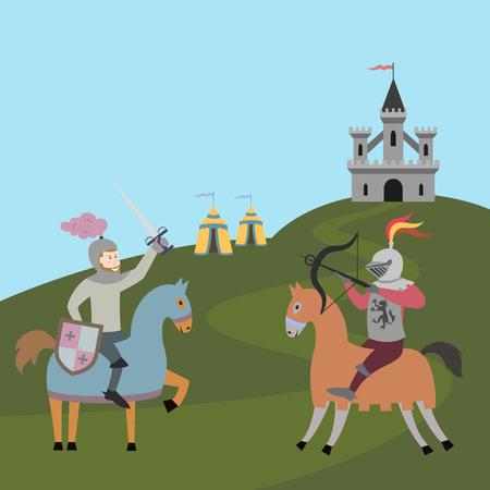 Tournament of two knights on horsebacks. Vector illustration. Illustration