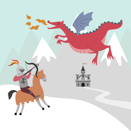 The battle of the knight with the dragon. Vector illustration.
