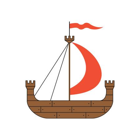 Medieval ship on white background. Vector illustration.