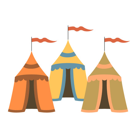 Cartoon medieval tents on white background. Vector illustration. Illustration