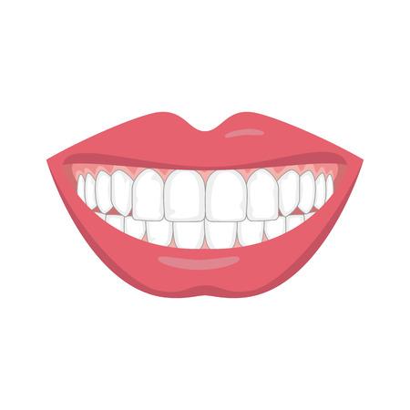 Mooie glimlach met witte tanden. Vector illustratie