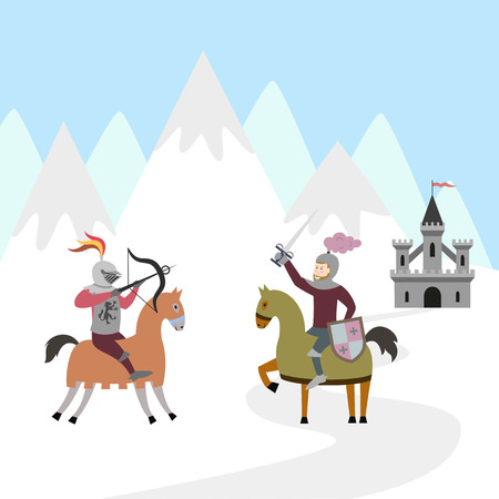 Tournament of two knights on horsebacks Vector illustration.