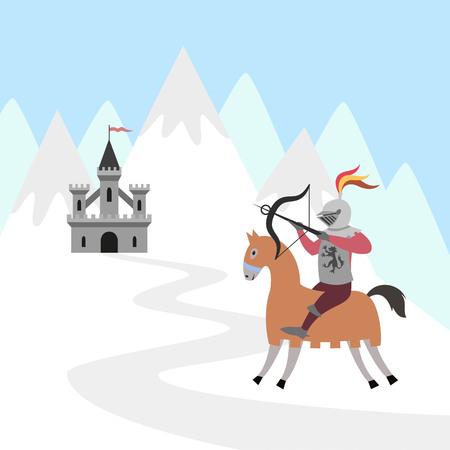 Cartoon knight on horseback and medieval castle on snow mountain. Vector illustration.