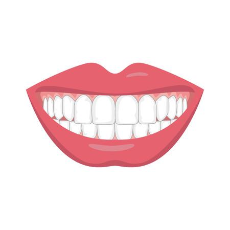 Piękny uśmiech z białymi zębami. Ilustracji wektorowych.