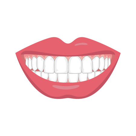 Beautiful smile with white teeth. Vector illustration.