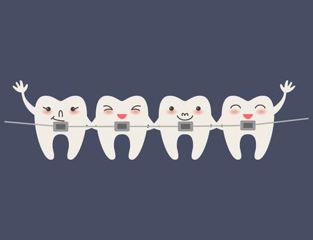 Cartoon Teeth with braces on blue background Vector illustration.