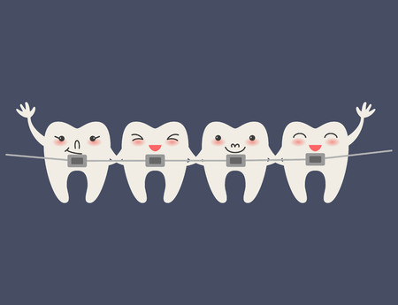 Cartoon Teeth with braces on blue background Vector illustration.