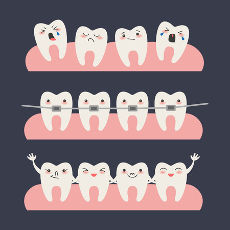 Cartoon Teeth with braces on dark background Vector illustration.