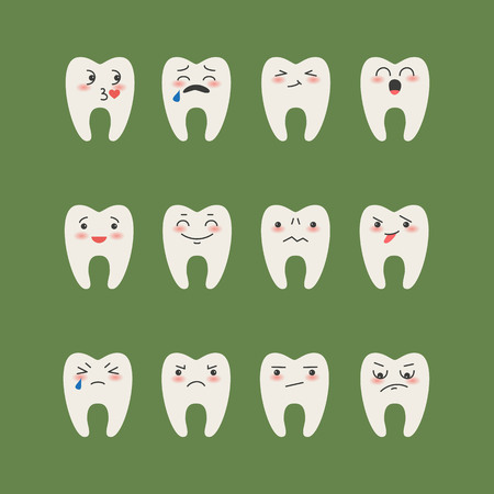 Cartoon  Teeth on green background. Vector illustration.