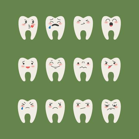 Cartoon  Teeth on green background. Vector illustration.