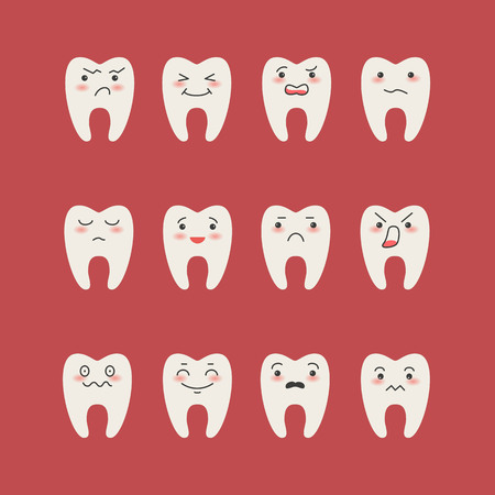 Cartoon Teeth  on red background. Vector illustration.